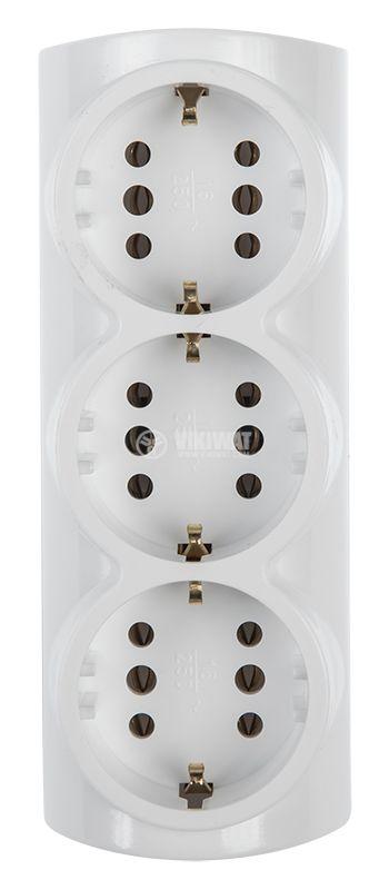 Разклонител 3-ка, 1xШуко към 3xШуко, 250VAC, 16A, бял - 2