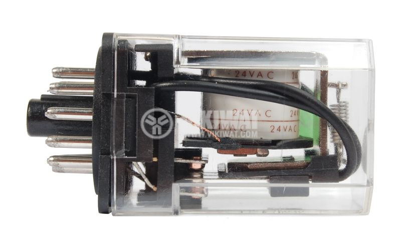 Електромагнитно реле универсално бобина 24VAC 250VAC/10A 3PDT - 3NO+3NC JQX-10F - 2