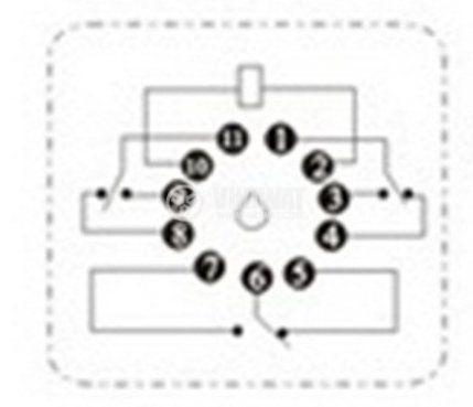 Електромагнитно реле универсално JQX-10F 240VAC 250VAC/10A 3PDT 3NO+3NC - 3