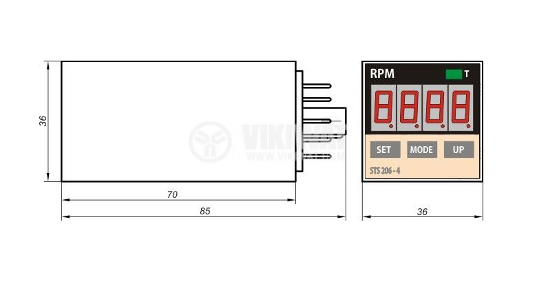 Electronical Impulse Counter, STS-206-04A, 220 VAC, 4 digits, 1- 9999 rpm - 2