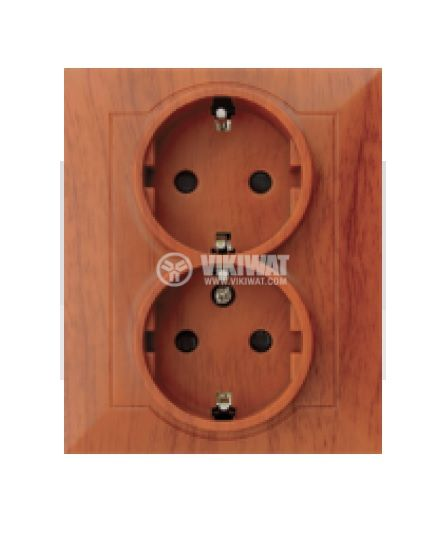 Electrical power socket, double, 250VAC, 16A, light wood IP20