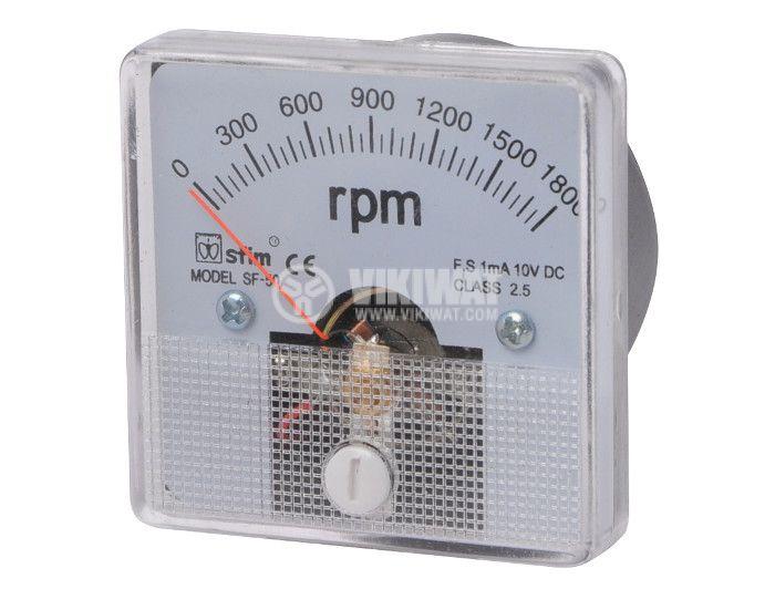 RPM meter, 0-1800 rpm, 1mA/10V DC, 50x50 mm, SF-50 - 1