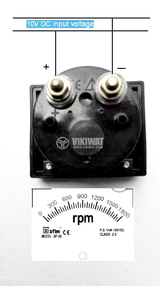 RPM meter, 0-1800 rpm, 1mA/10V DC, 50x50 mm, SF-50 - 2