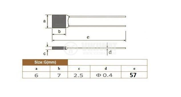 Термичен предпазител, RH-2A, 72°C, 2A/250VAC - 2