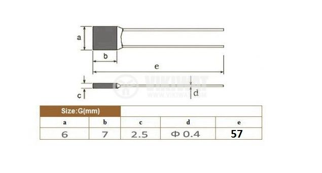Термичен предпазител, RH-2A, 98°C, 2A/250VAC - 2