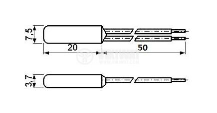 Термопластина, биметална, KSD9700-1, 130 °C, NC, 4 A / 250 VAC, метален корпус - 2