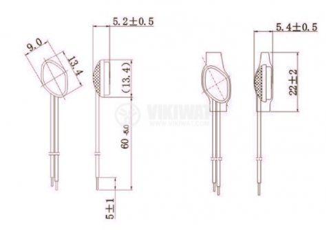 Термопластина, биметална, TP1, 55 °C, NC, 2.5 A / 250 VAC, метален корпус - 2