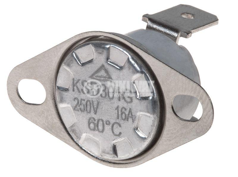Термостат, биметален, KSD-301A, 60°C, NC, 10A/250VAC - 1
