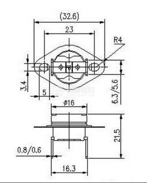 Термостат, биметален, KSD-301A, 75°C, NC, 10A/250VAC - 3