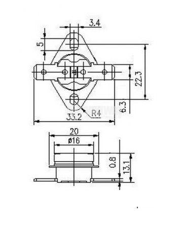 Термостат, биметален, KSD-301A, 225°C, NO, 10A/250VAC - 2