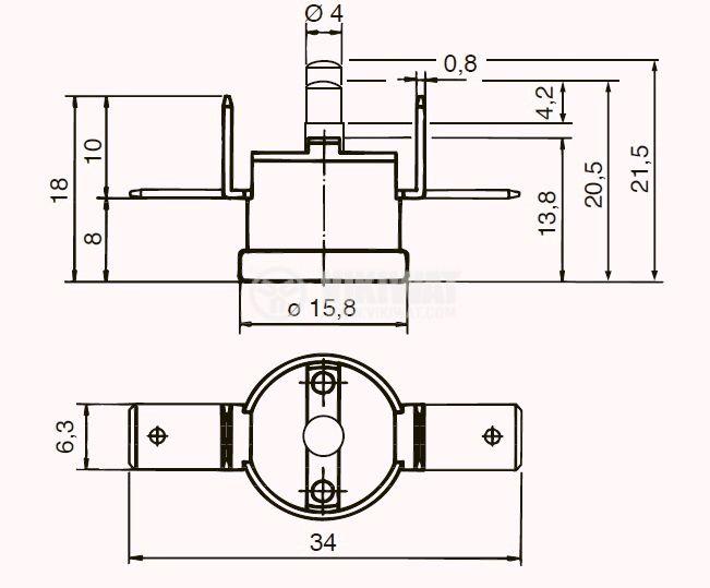 bimetallic thermostat ty60 160 degrees 16a 250v nc