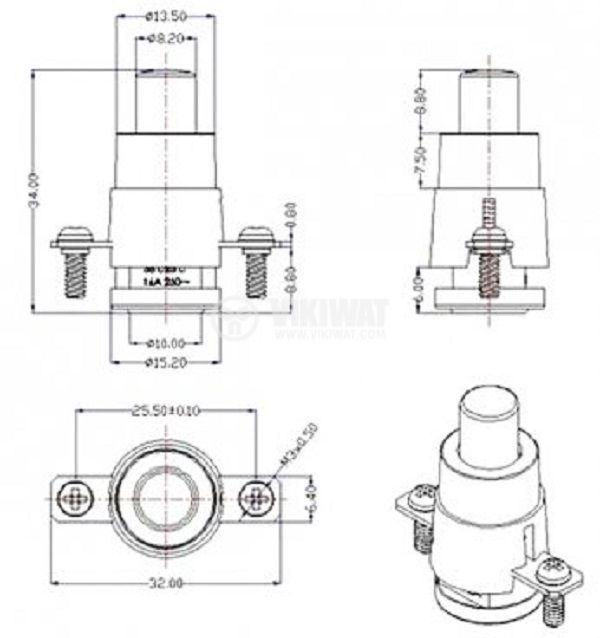 Термостат, биметален, EAW, 56°C, NC, 16A/250VAC - 2