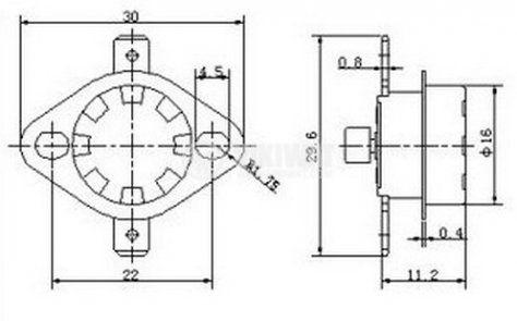 Термостат, биметален, KSD-333R, 115°C, NC, 16A/250VAC - 2
