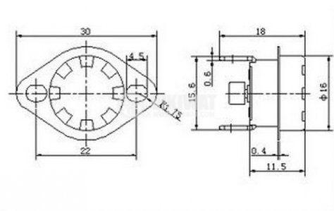 Термостат, биметален, KSD-333R, 140°C, NC, 16A/250VAC - 4