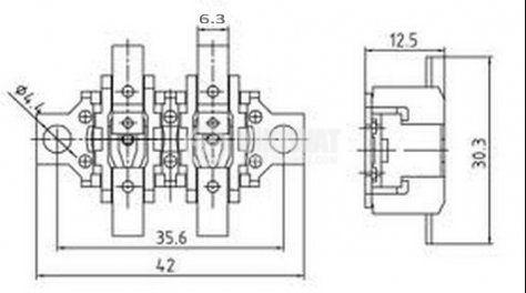 Термозащита, биметална, двойна, A2-027, 160 °C / 180 °C, 2NC, 16 А / 250 VAC - 2