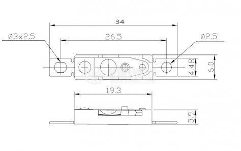 Термозащита, биметална, KSD-301F, 100°C, NC, 6 А / 250 VAC - 1
