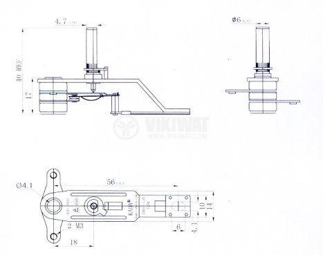 Термостат, биметален, регулируем, KDT-300A, 40°C-180°C, NC, 12A/250VAC - 2
