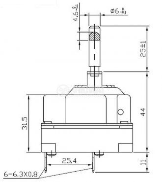Capillary thermostat,  WY250-653-28TH, from +50 °C to +250 °C, 3NC, 16 A / 250 VAC - 2