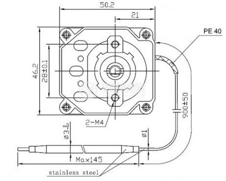 Capillary thermostat,  WY250-653-28TH, from +50 °C to +250 °C, 3NC, 16 A / 250 VAC - 3