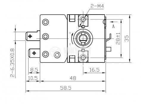 Терморегулатор, капилярен, WY90-653-21Z, от +30 °C до +90 °C, NC, 16 A / 250 VAC - 4