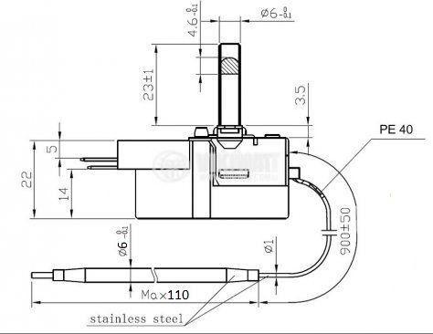 Терморегулатор, капилярен, WY90-653-21Z, от +30 °C до +90 °C, NC, 16 A / 250 VAC - 5