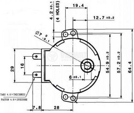 Мотор за микровълнова фурна 49TYZ-A2 220 VAC 4W 5 оборота/мин метална ос ф7mm засечка 6mm - 2