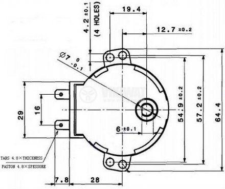 Мотор за микровълнова фурна 49TYZ-A2 220-240VAC 4W 5 оборота/мин PVC ос ф7mm засечка 5mm - 2