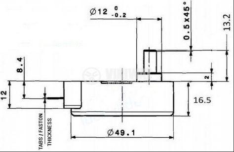 Мотор за микровълнова фурна 49TYZ-A2 220-240VAC 4W 5 оборота/мин PVC ос ф7mm засечка 5mm - 3