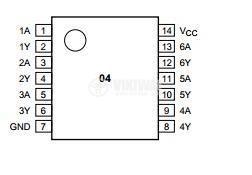 Интегрална схема 74HCT04, TTL съвместима, Hex inverter, DIP14 - 2
