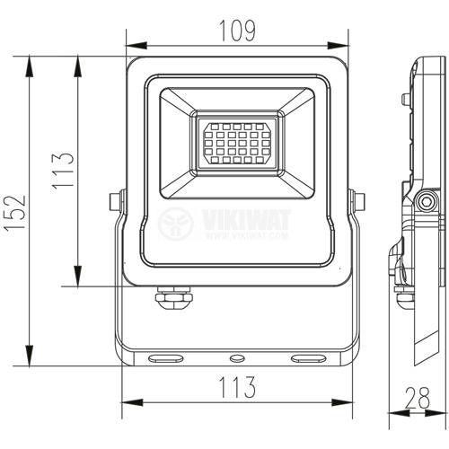 LED прожектор 20W, 220VAC, 1600lm, 6500K, студенобял, IP65, влагозащитен, SLIM, BT61-02032 - 3