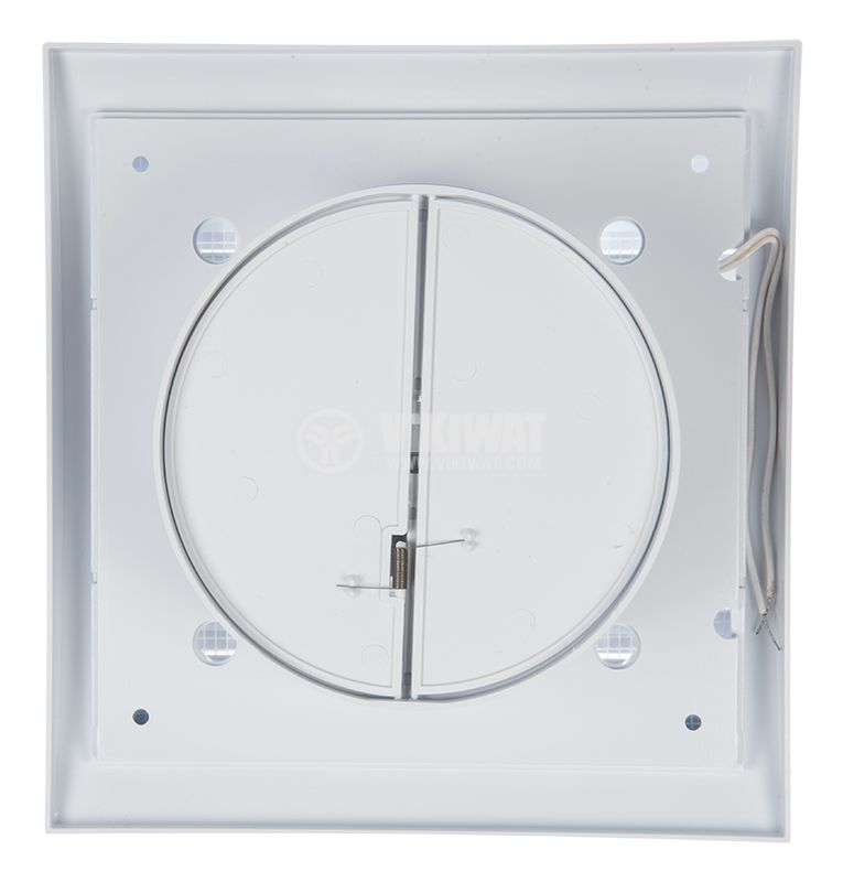 Bathroom fan, Ф120mm with valve, 220VAC, 18W, 150m3 / h, MM120 with internal rotor, square, white - 3