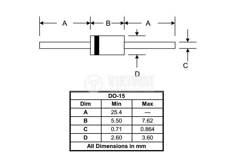 Диод P6KE10CA, 600W, 10V, двупосочен
