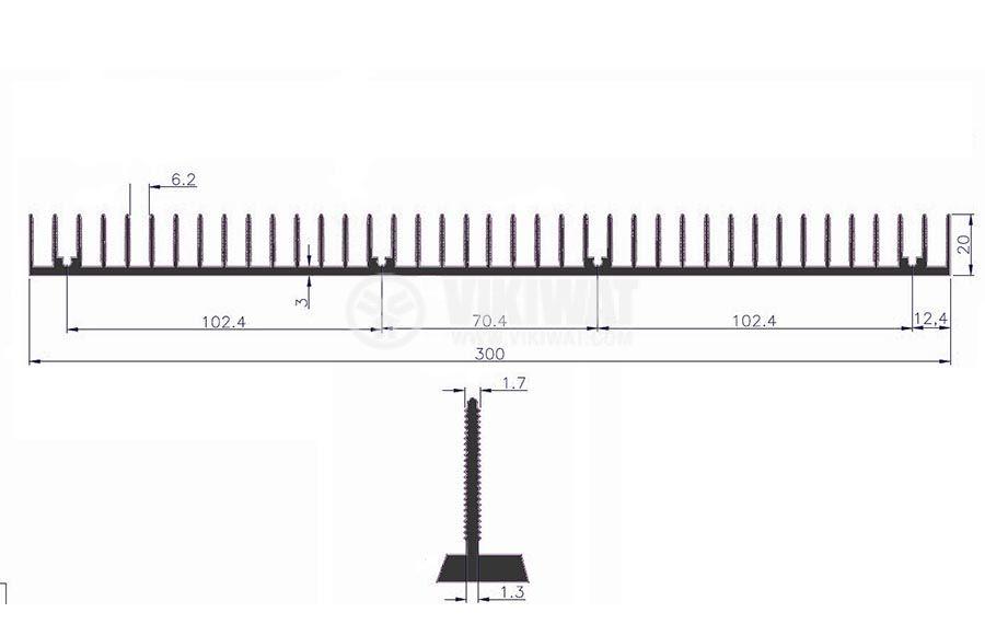 Aluminum cooling radiator profile 1000mm 300x20x3 mm - 4