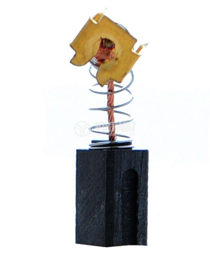Четка въглено-графитна, SG-88-6x9x13, 6x9x13 mm, с централен извод, пружина и П-образен накрайник
