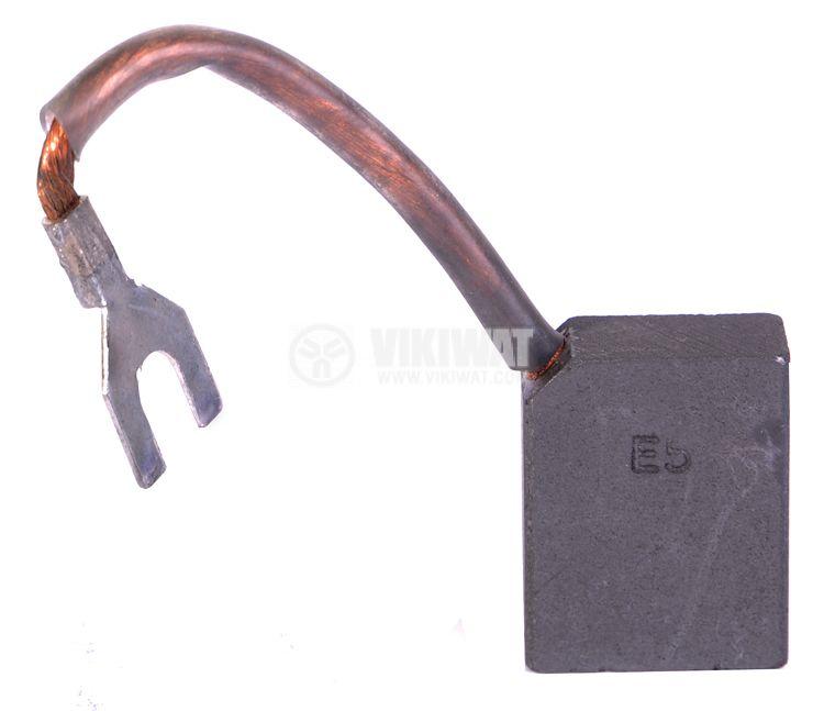 Четка въглено-графитна, Е5, 12.5x25x32 mm, със страничен извод, кабелна обувка тип вилица 7 mm