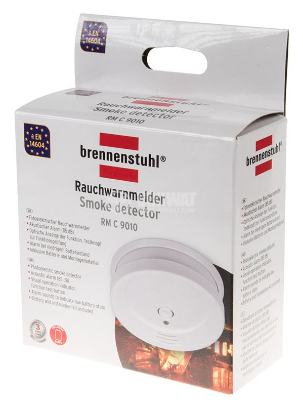 Smoke detector,  Brennenstuhl RM C 9010, with sound alarm, 85 dB, 1290080 - 2