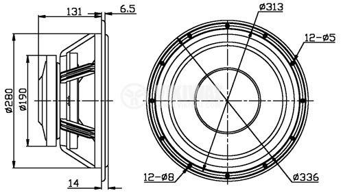 Нискочестотен високоговорител, W12, 8 Ohm, 150W, 336mm - 4