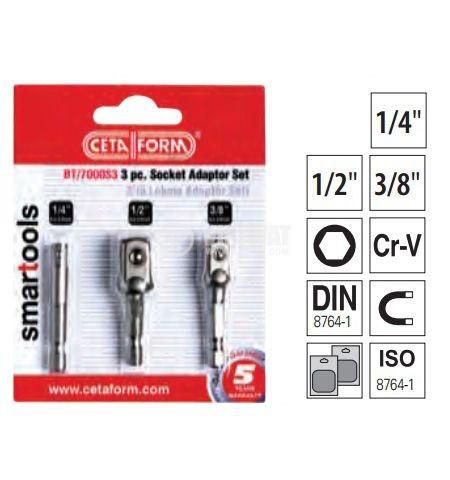 Socket Adaptor Set, 3 pcs
