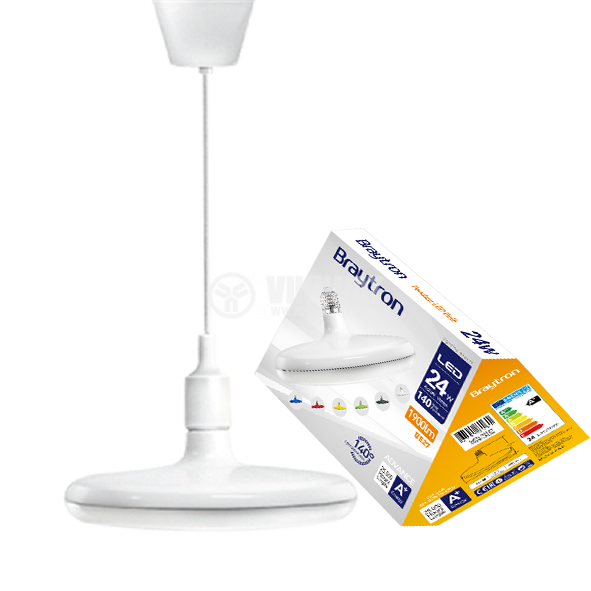 LED лампа UFO, 24W, E27, 1900lm, 6400K, студенобяла, BB01-02423, бял корпус - 1