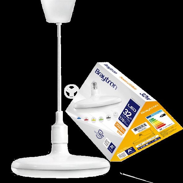 LED лампа UFO, 32W, E27, 2500lm, 6400K, студенобяла, BB01-03223, бял корпус - 1