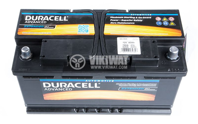 Car battery, 95Ah, starter, 12VDC, DURACELL DA 95H - 3