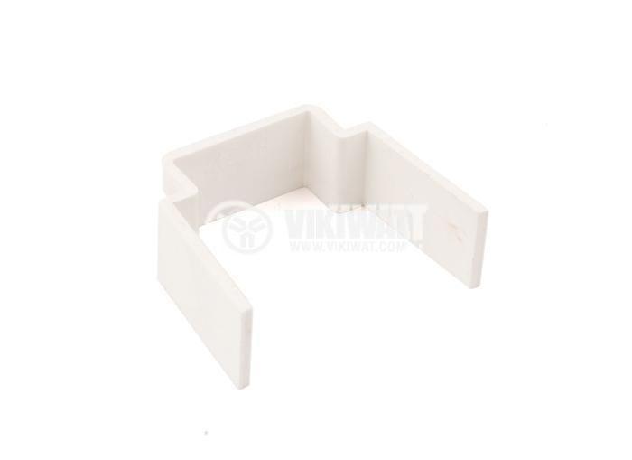 Пластмасова скоба, размери 60x60x15 mm, бяла