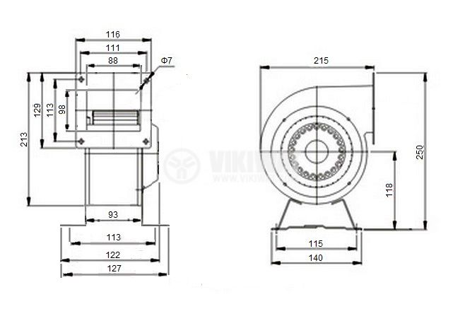 Centrifugal radial  fan V-150QD, 380VAC, 180W, 900m3/h - 3