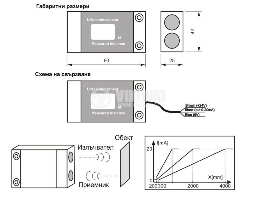 Ултразвуков датчик, UD64AI01-1l, 14-30 VDC, 1 m, аналогов изход 20 mA, с индикация за разстояние - 2