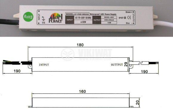 LED захранване LP-PSW15W0350, 45 VDC, 15 W, 700 mA const., влагоустойчиво