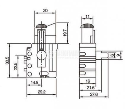 Електрически прекъсвач (ключ), регулатор на обороти за ръчни електроинструменти  FA4-4/1BE-8 5A/250VAC - 3