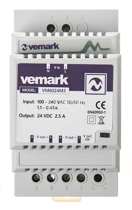 Power supply for DIN rail, 24VDC, 60W, 2.5A, VS6024M3 - 1