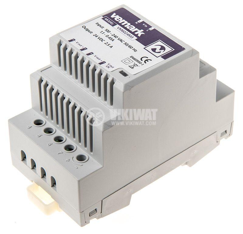 Power supply for DIN rail, 24VDC, 60W, 2.5A, VS6024M3 - 2