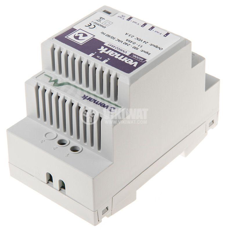 Power supply for DIN rail, 24VDC, 60W, 2.5A, VS6024M3 - 3