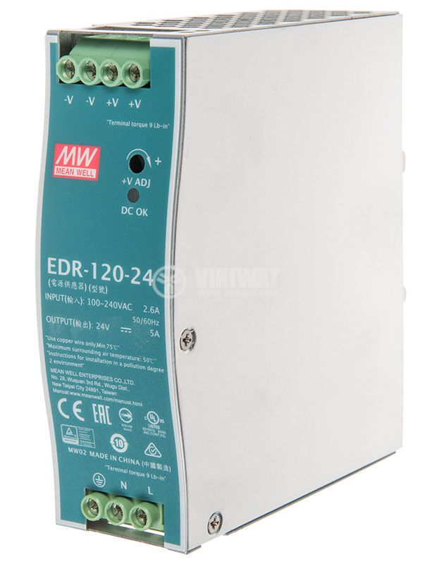 Импулсно захранване EDR-120-24 за DIN шина 5A/24VDC 120W - 2
